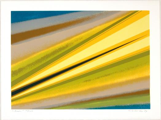 Rita Letendre's Asor is a colourful serigraph print comprised of diagonal bands of yellow, brown, green and blue
