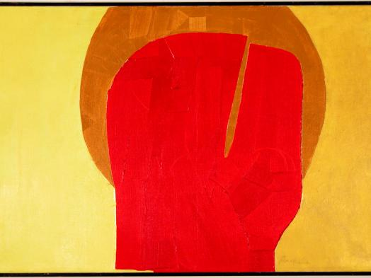 Takao Tanabe's Optimist is an abstract painting of a cleft red shape evocative of a human head with a deep gold halo, against a wide background of brighter yellow