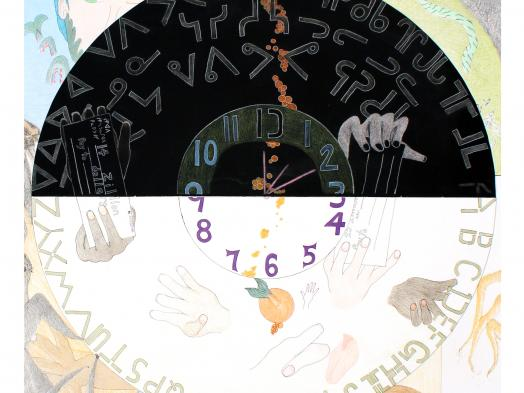 Shuvinai Ashoona's Composition (Clock) is a coloured pencil drawing featuring a large circular form split between black upper and white lower sections marked with Inukitut syllabics and Arabic numerals, surrounded by soft coloured drawings of the sea goddess Sedna and other figures