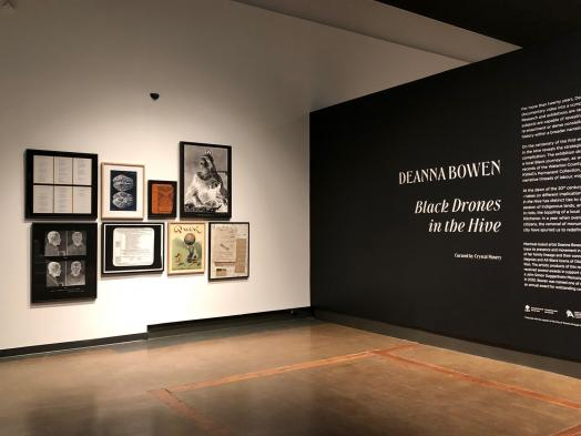 Instalation view of Deanna Bowen: Black Drones in the Hive