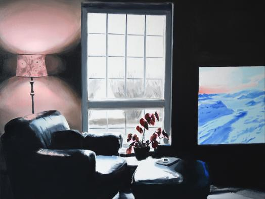 Amanda Rhodenizer's Casual Frontier is an oil painting depicting a dark interior living space occupied by a black leather chair and bright television screen; a tall bright window also adds contrasting light to the scene