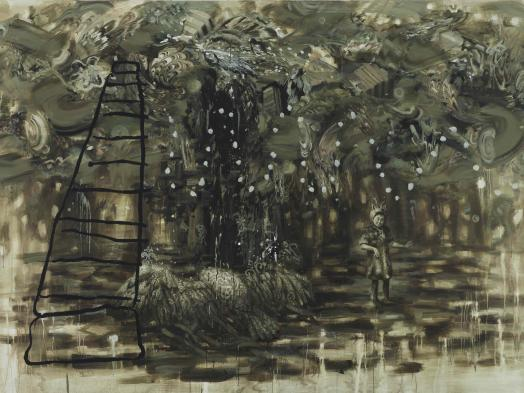 Carol Wainio's painting Season's End is a richly layered landscape in dark earth tones featuring a large burrowing bird creature, a small human figure in fur and antlers and a crudely-drawn steel tower teetering beneath a heavy marble-patterned sky