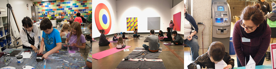 A series of three photos showing volunteers helping children with art activities in the studio and family yoga in a gallery displaying large abstract paintings