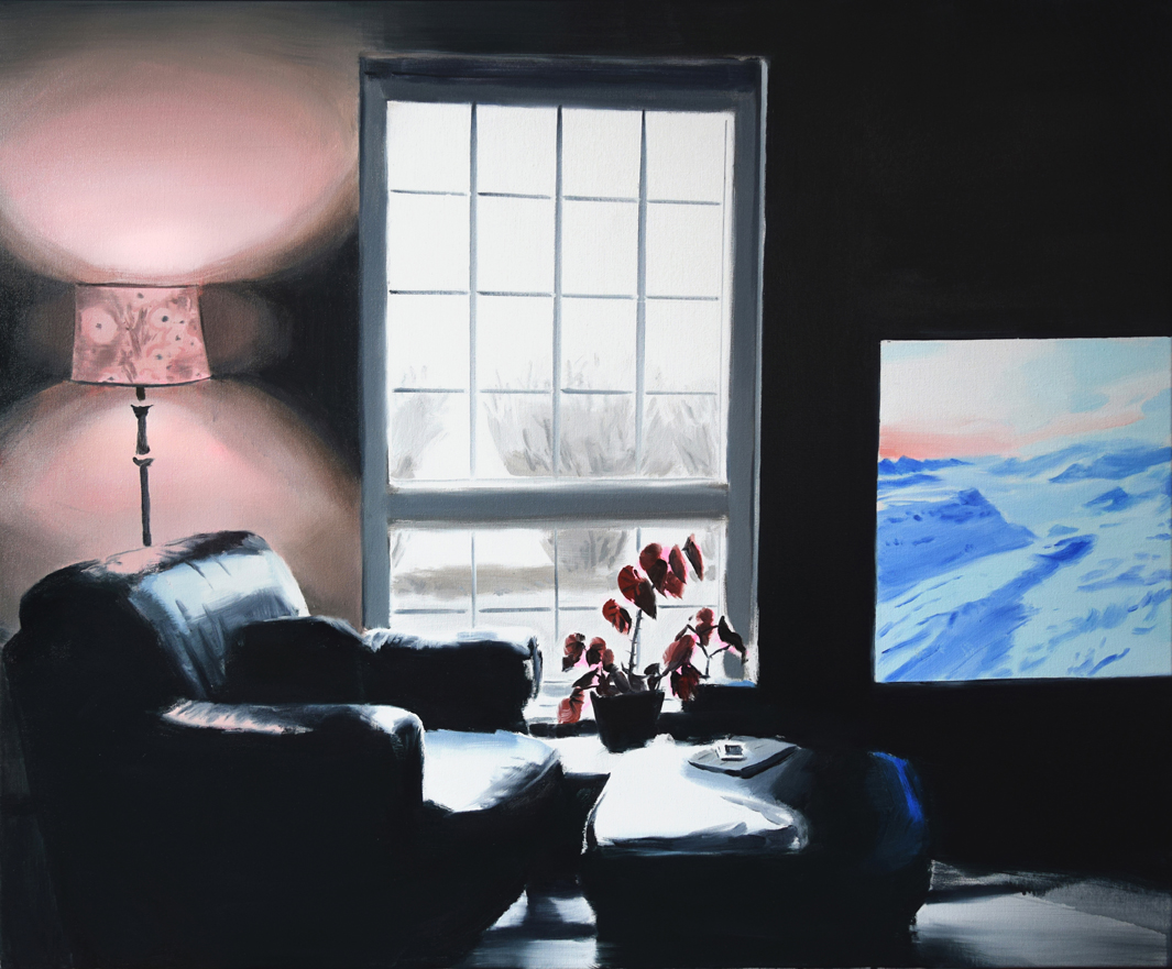 Amanda Rhodenizer's Casual Frontier is a painting of a dark living room interior dominated by a large black leather chair and ottoman, with stark lighting from a tall window and a TV screen showing a glimpse of snowy landscape
