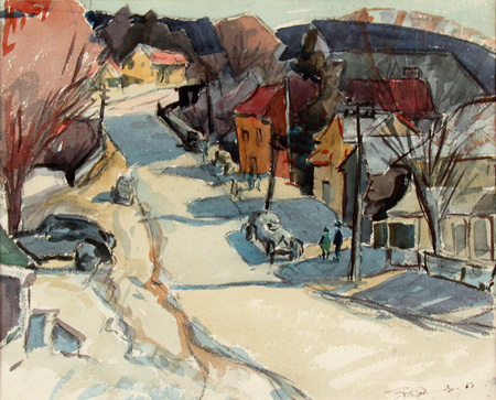 Ralph Conner's watercolour drawing Village Street depicts an urban residential street in winter with broad blocks of unusual colours