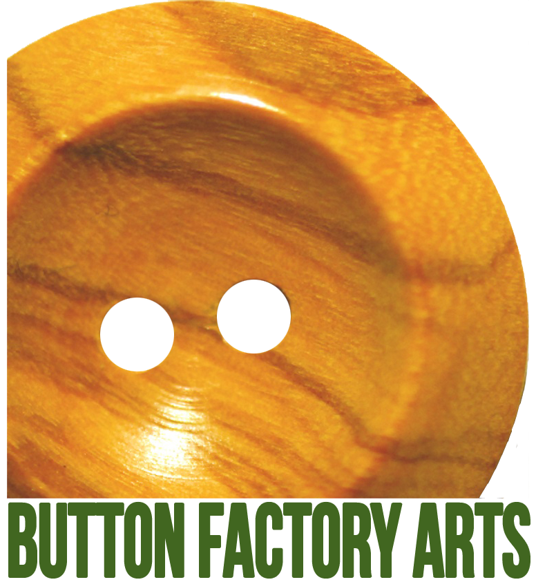 Button Factory Arts logo with their name appearing in green text under a round brown button