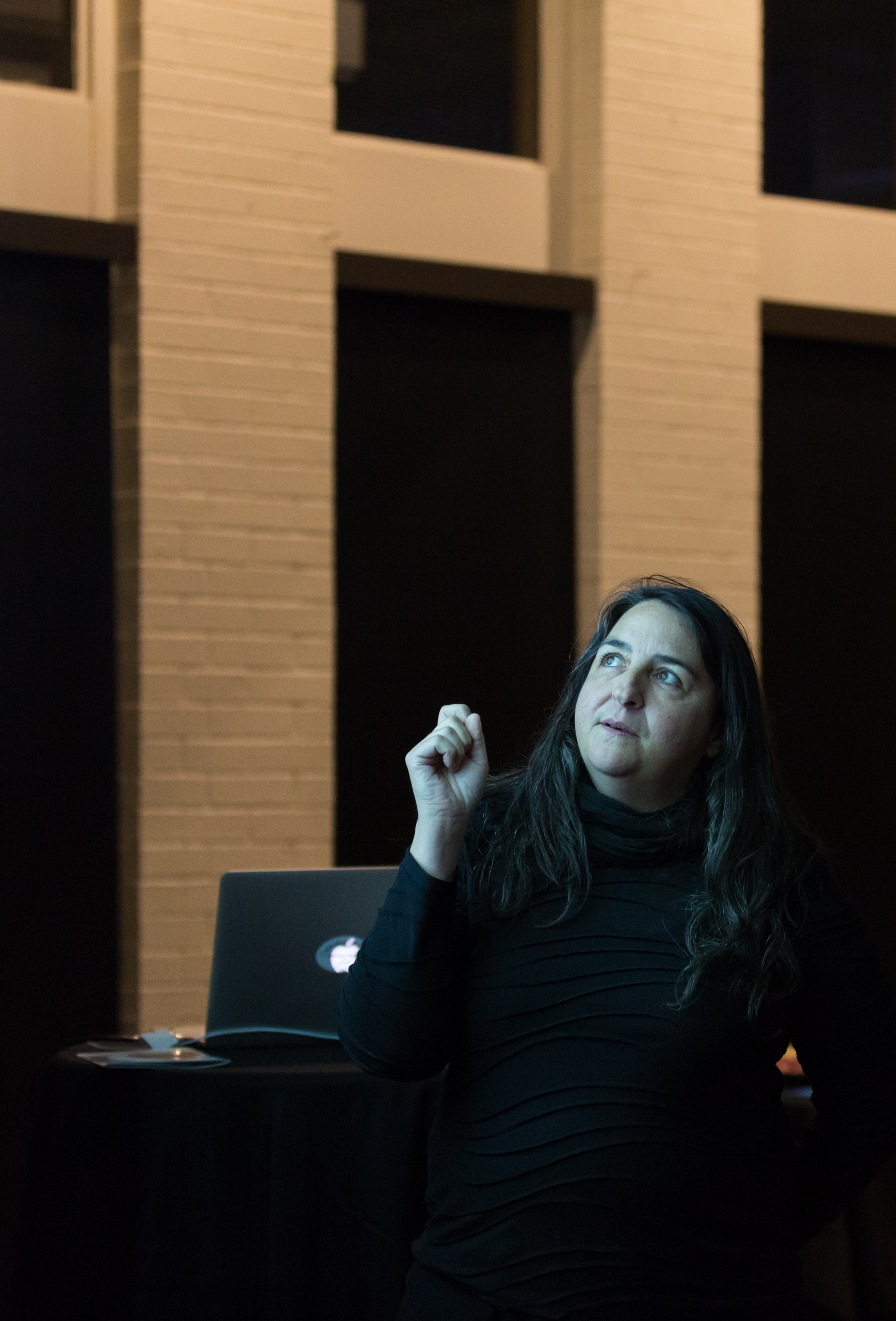 Photo of Lisa Myers presenting a lecture in a darkened room, pointing and looking upward at a projection screen behind her