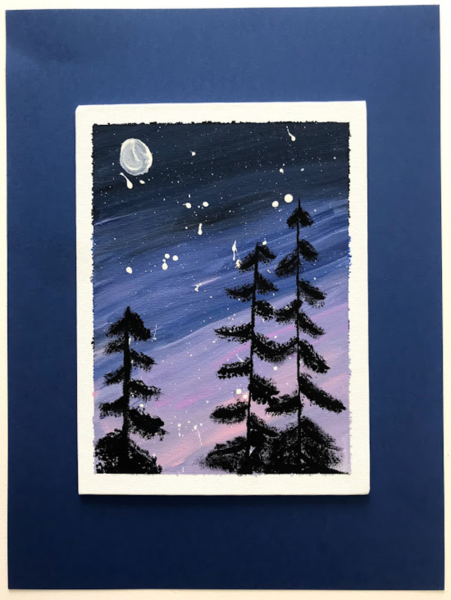 A painting of spare black silhouettes of pine trees against a violet-streaked night sky, framed in a white and blue mat
