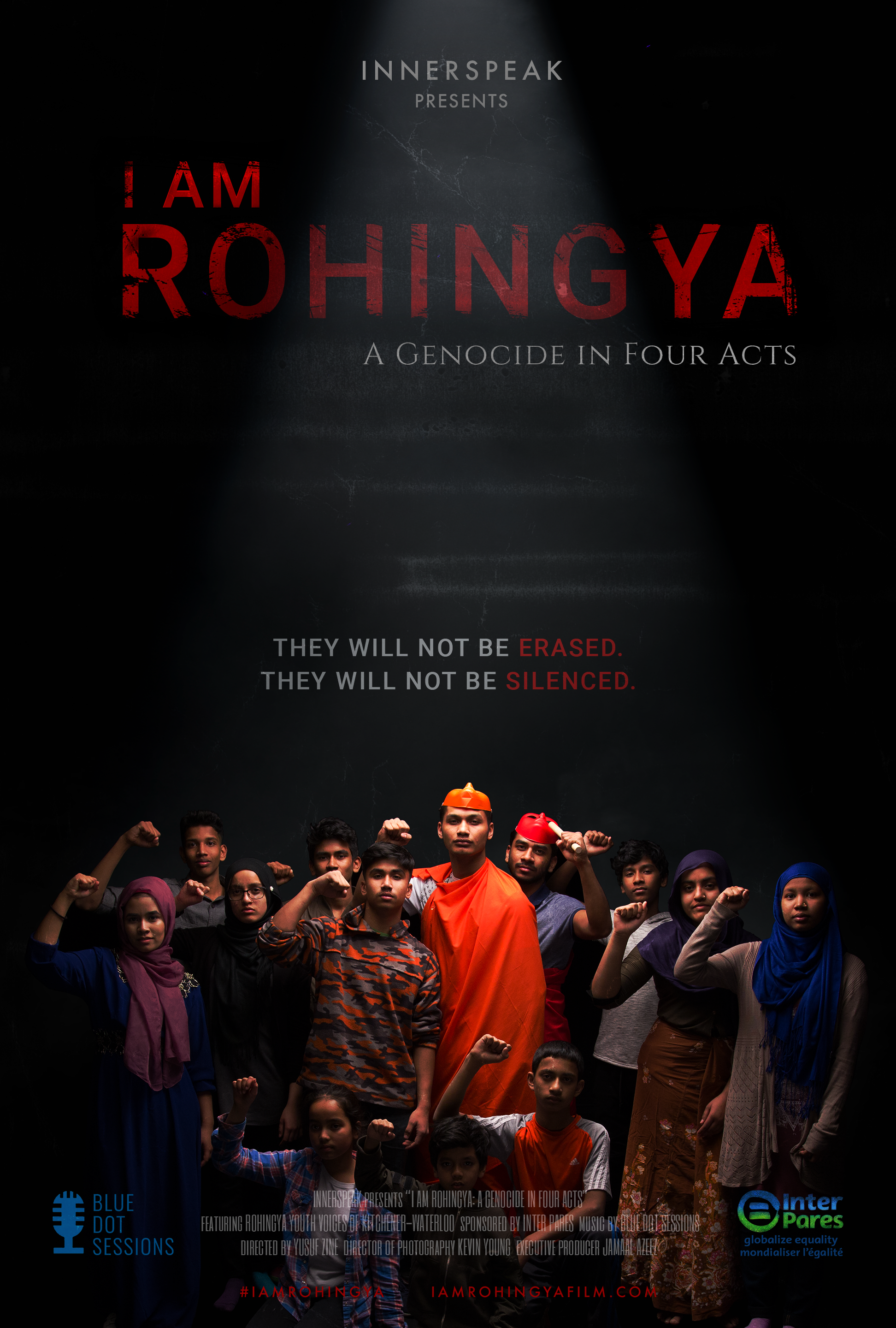 Film poster for I Am Rohingya depicts a group of young migrants in a black space with their fists raised
