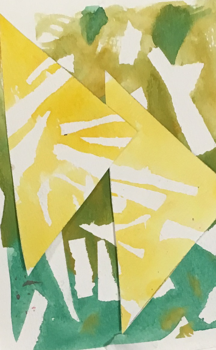 A yellow and green watercolour study made with overlapping pieces of triangular white paper