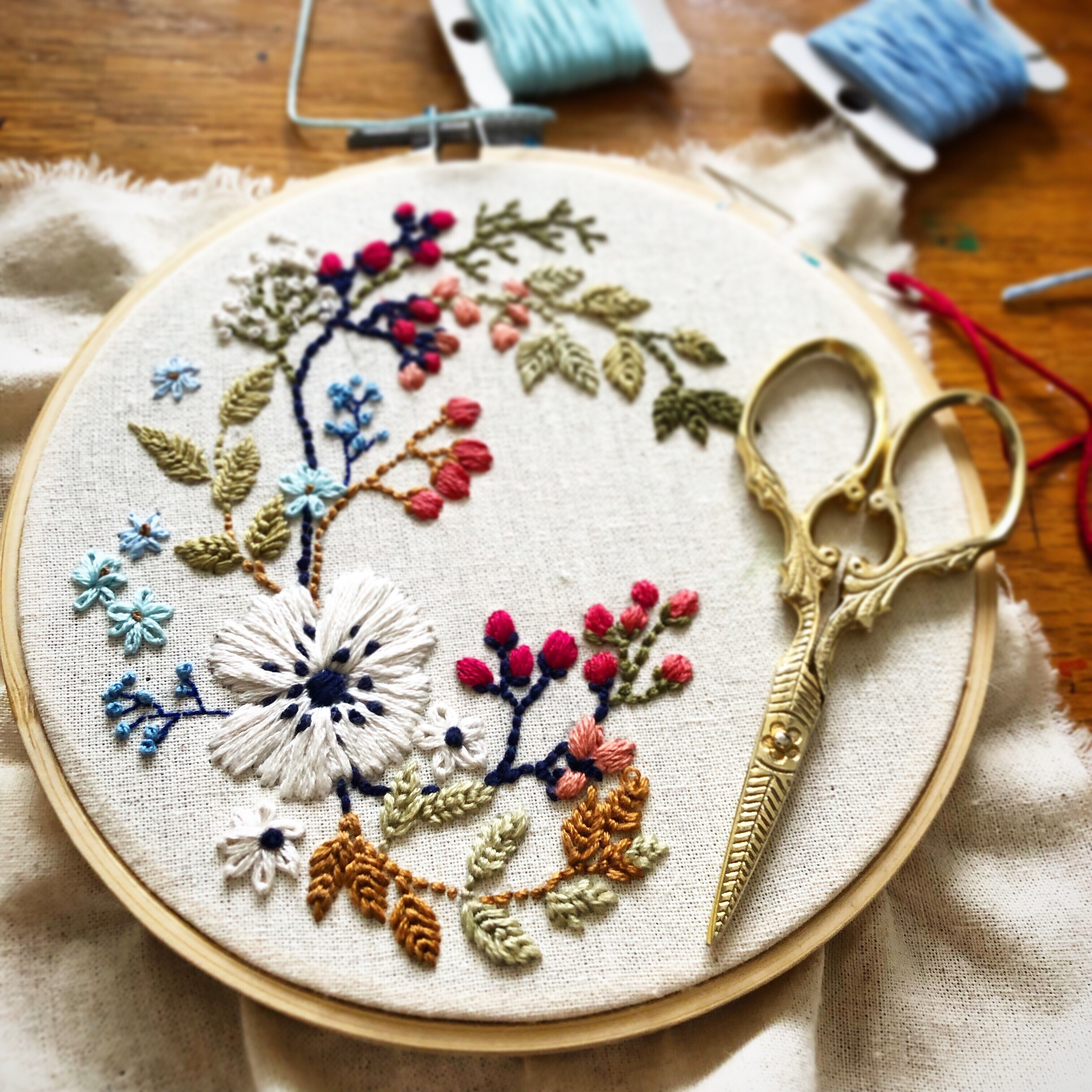 Photo of an embroidery hoop supporting a delicate pattern of flowers and berries, alongside decorative sewing scissors