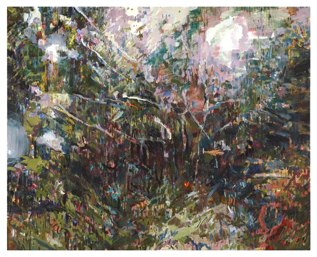 Monica Tap's Road to Lily Dale 1 is an energetic abstract painting suggestive of a forested landscape