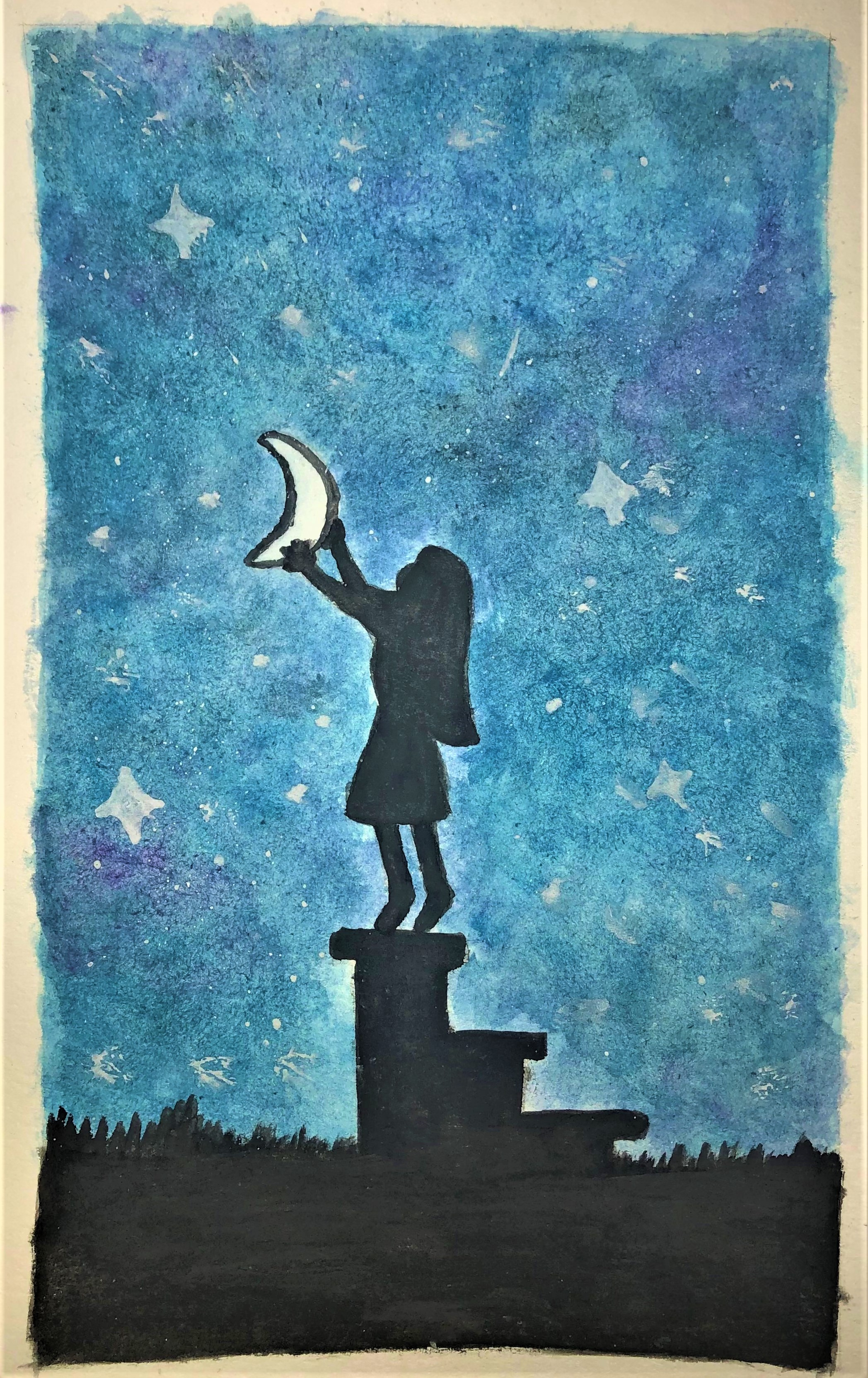 A watercolour painting of a young girl standing on top of a short set of steps to grasp a crescent moon, in black silhouette against a starry night sky