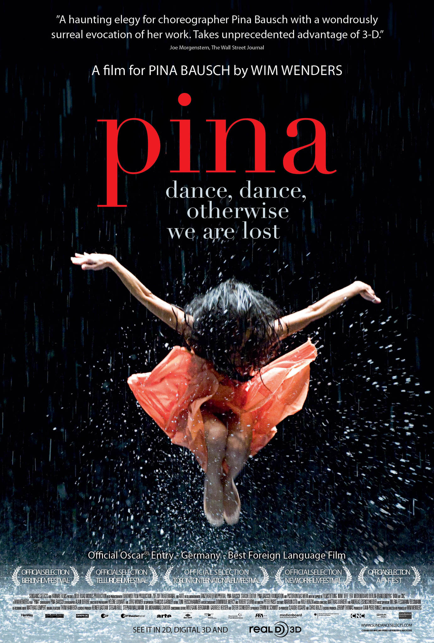 Film poster for Pina features a dramatic lit dancer mid-leap with arms spread wide against a black backdrop, surrounded by lightly falling water