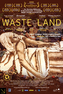Film poster for Waste Land features an illustration of Jacques-Louis David's Death of Marat rendered entirely in recycled materials