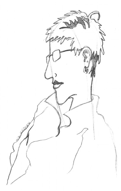 Line drawing of the head and upper body of a man in glasses and loose buttoned shirt