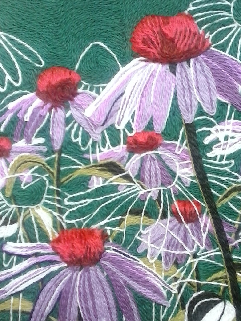 Detail of a textile artwork depicting purple cone flowers overlaid with white contour drawings