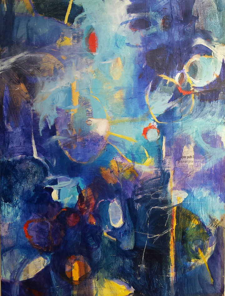 A blue-toned abstract painting by Laurie Wonfor Nolan