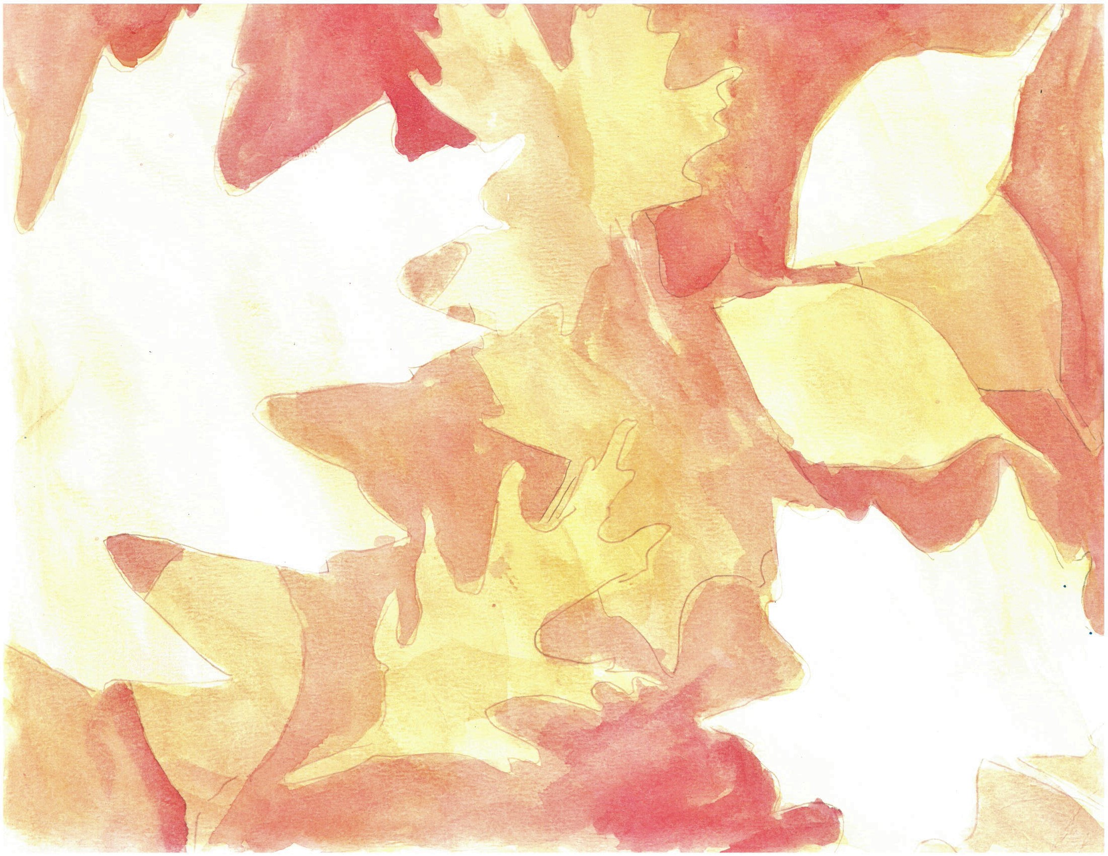 A watercolour painting of various leaf shapes as white negative shapes surrounded by washes of orange, red and yellow
