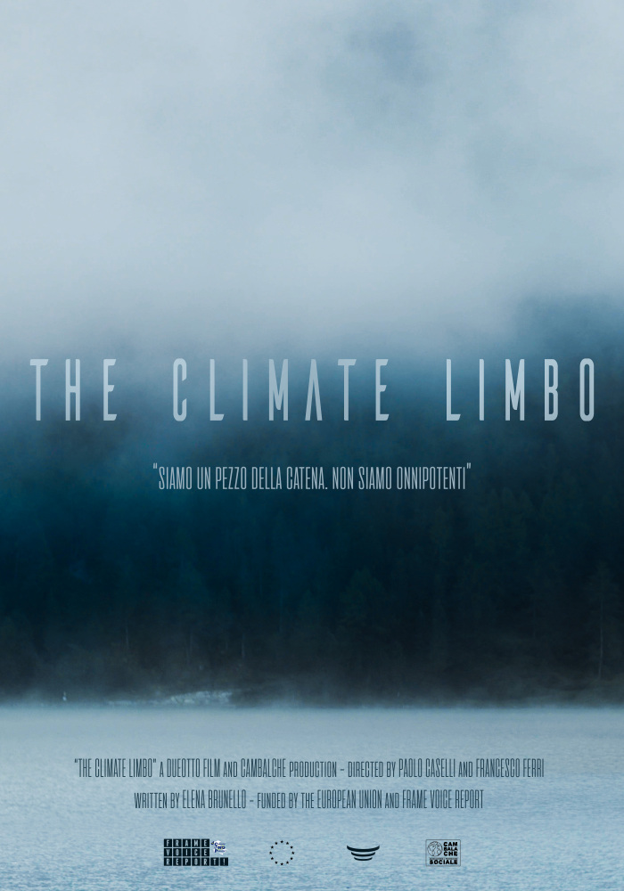 Film poster for The Climate Limbo shows the film's title on an ominous blue-black background