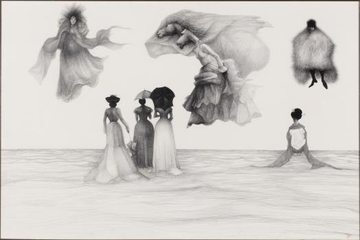 John Gould's drawing, Central Casting Picnic, depicts a surreal scene of women in historical costume observing a sky filled with fantastical figures