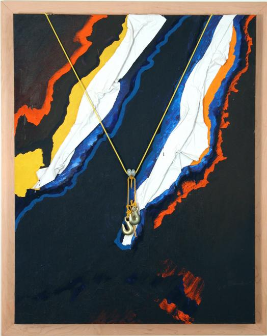 Michel-Thomas Tremblay's Accroche-Toi is a predominantly black mixed media artwork with abstract white diagonal shapes edged in blue, yellow and orange interrupting the darkness; two small steel hooks hang over the centre of the artwork by a suspended v-shape of thin yellow string