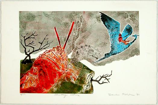 Saul Field's Heritage China is a colourful etching of a red locust observing a blue heron in flight