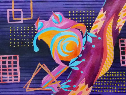 An abstract painting of a tree frog depicted using bright curving shapes against a dark purple background with geometric patterns