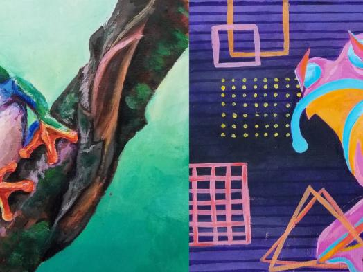 A painted diptych of a tree frog, with the left painted in a realist style against a green background while the right is abstracted with geometric shapes against a purple background