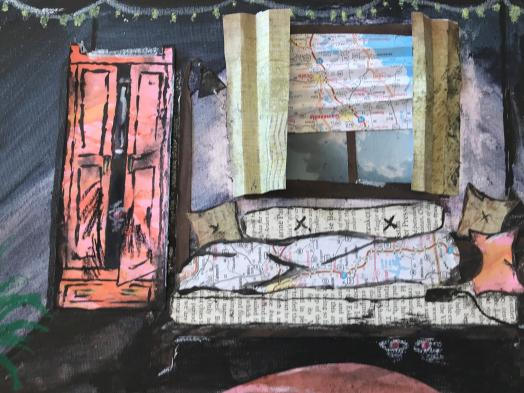 A collaged drawing of a room with a wardrobe and sofa beneath a curtained window