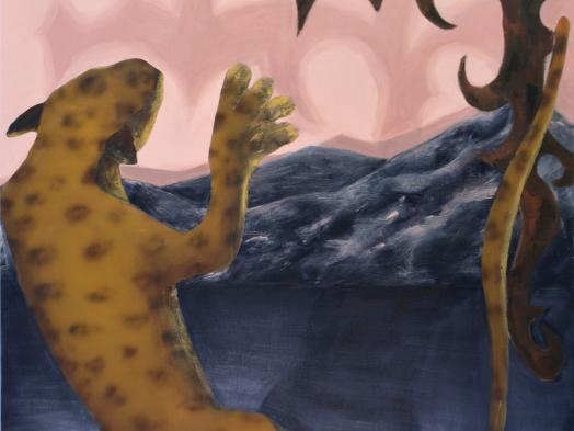 painting of a leopard in an unusual vertical position as though falling against a background of dark blue rock and a pink sky with a blood-red moon
