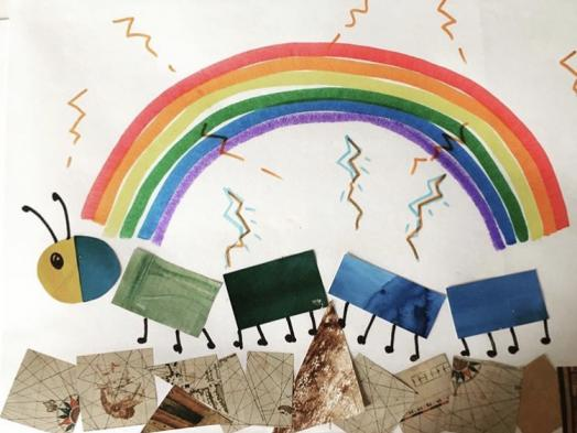 A collaged child's picture of a caterpiller walking under a rainbow and radiating colourful squiggle marks