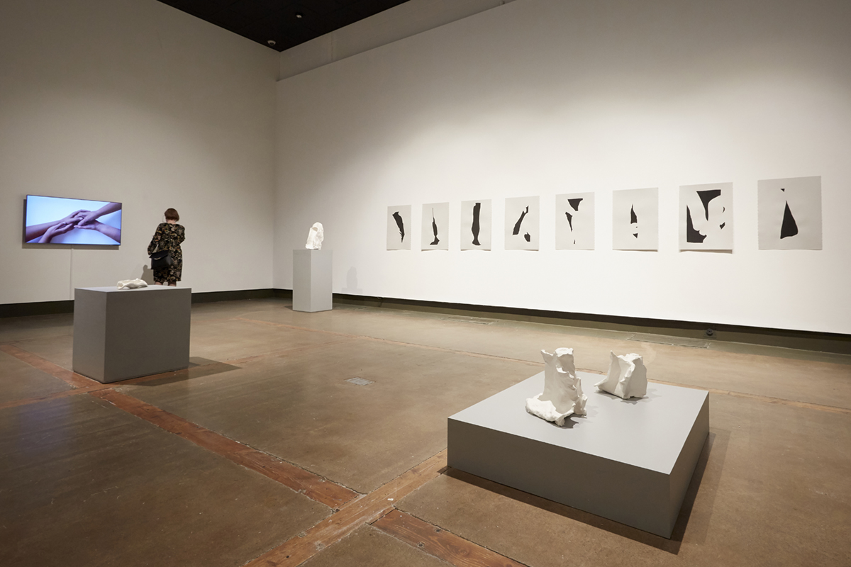 Installation view of sculptures, drawings and video by Erika DeFreitas in I'll be your Mirror