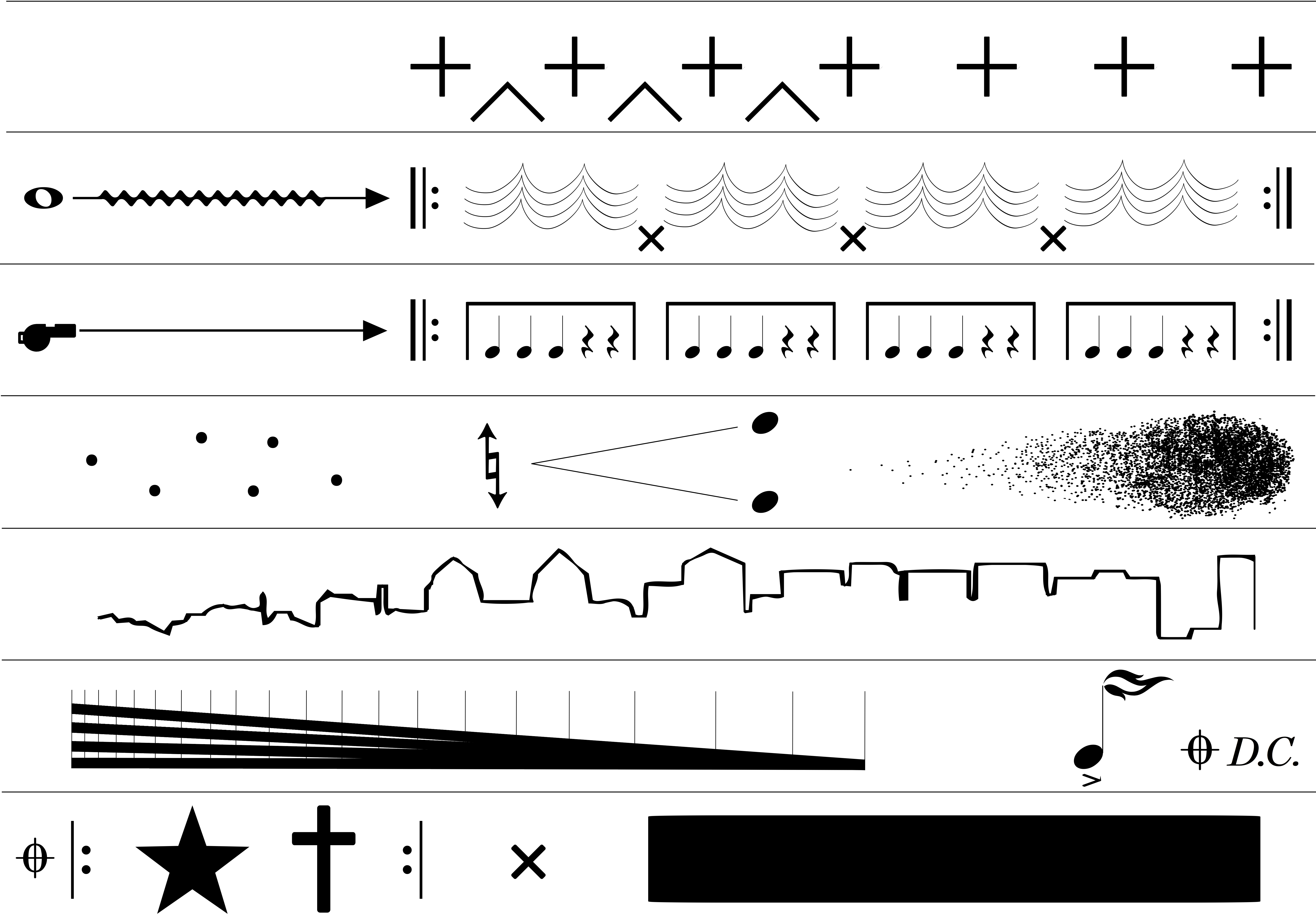 Raven Chacon's American Ledger (No. 1) is a score of seven lines made up of musical notation, symbols and shapes