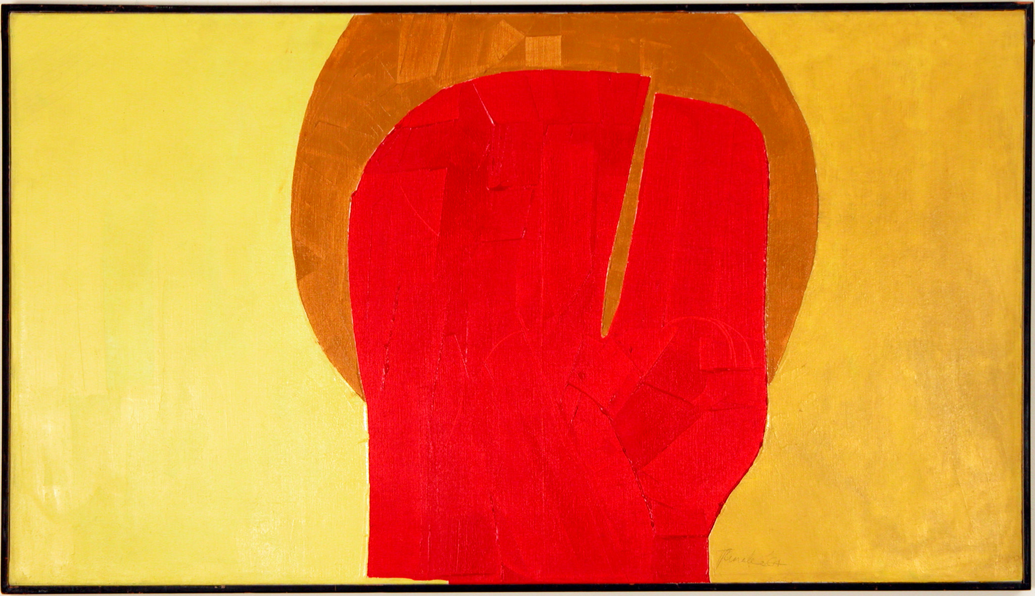 Takao Tanabe's Optimist is a horizontal canvas painted in large fields of yellow and gold with a central red shape like a head surrounded by a dark gold halo with a diagonal rift splitting the red shape