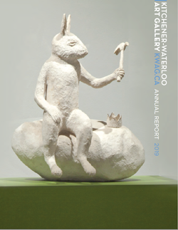 KWAG 2019 Annual Report cover with sculpture of a white rabbit holding a hammer