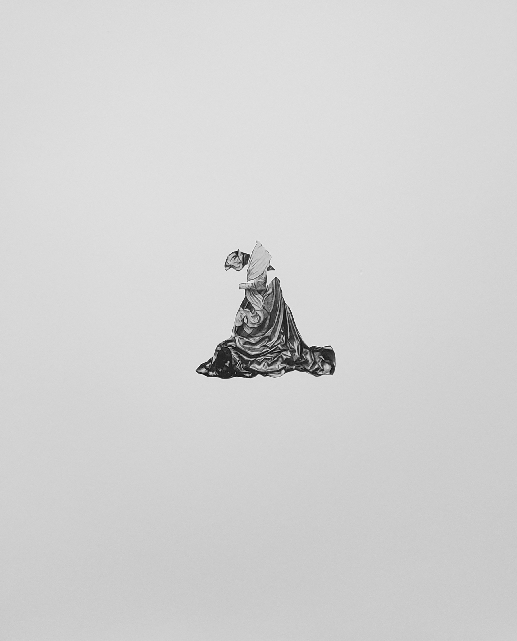 A greyscale image of a robed woman without face or hands against a light grey background